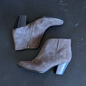 Frye Jennifer Gray Suede Ankle Zipper Booties 7.5